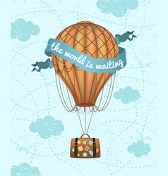 conceptual art of hot air balloon with baggage vector image