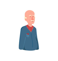 cute bald pensioner man avatar with red striped vector image