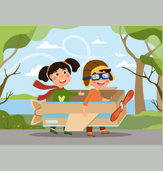 Cute creative little boy and girl playing vector