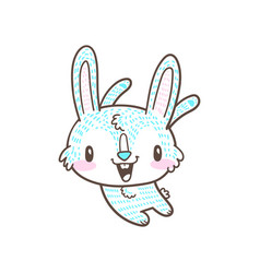 cute little bunny and rabbit cartoon doodle vector image