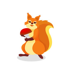 cute squirrel with big mushroom in paws forest vector image