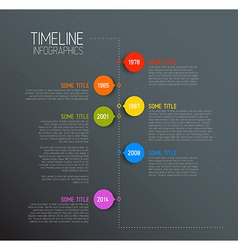 Dark Infographic timeline report template vector