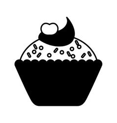 Delicious sweet cupcake icon vector