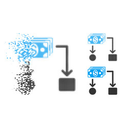Disappearing pixel halftone cashflow icon vector