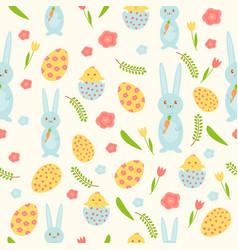 easter seamless pattern with eggs birds vector image