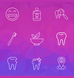 Enamel icons line style set with clean tooth vector