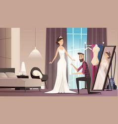 fitting wedding dress dressmaker making dress for vector image