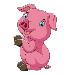 Funny pink pig and standing with white background vector
