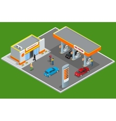 Gas station 3d isometric Gas station concept Gas vector image vector image