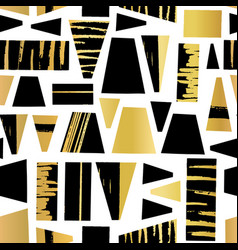 geometric shapes gold foil and black seamless vector image