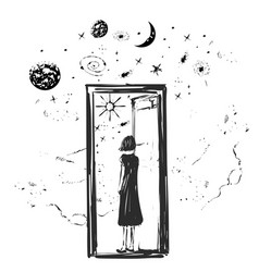 Girl open the door with stars the planer and vector