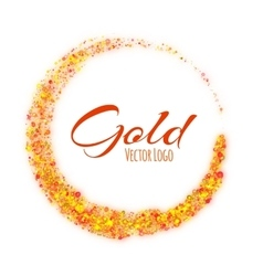 Gold rounded banner with text on white background vector