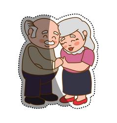 grandfather and grandmother lovely couple cartoon vector image