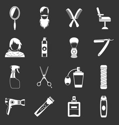 Hairdressing icons set grey vector