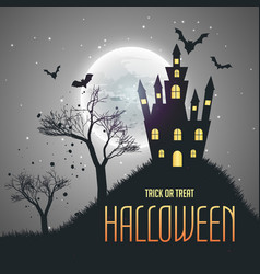 Halloween house night sky background with moon vector