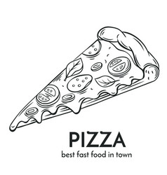 Hand drawn pizza icon vector