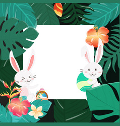 happy easter bunny in the forest vector image