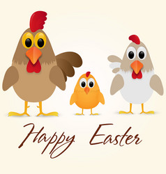 Happy easter greeting card with chicken family vector