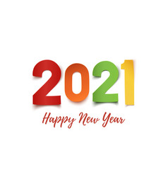 happy new year 2021 colorful paper abstract vector image