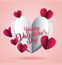 happy valentines day card origami hearts paper vector image