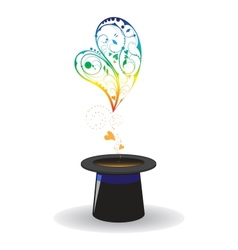 hearts coming out of magical hat vector image