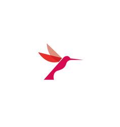 Hummingbird red bird flying logo design vector