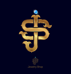 Initials s and j logo golden letters vector