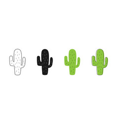isolated cactus icons cactus icons set of vector image