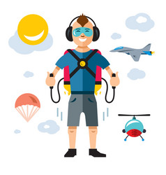Jet pack flat style colorful cartoon vector