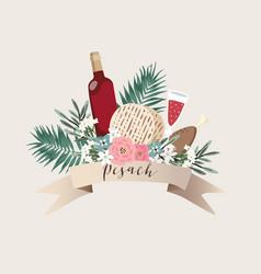 jewish holiday pesach passover greeting card vector image
