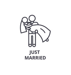 just married thin line icon sign symbol vector image