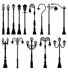 lamp post lamppost street road light a set of vector image