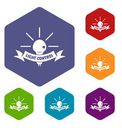 light control icons hexahedron vector image