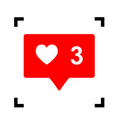 like and comment sign red icon inside vector image