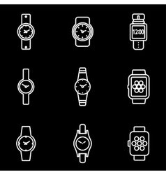 Line wristwatch icon set vector