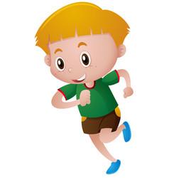 Little boy in green shirt running vector