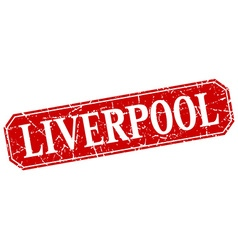 Liverpool red square grunge retro style sign vector