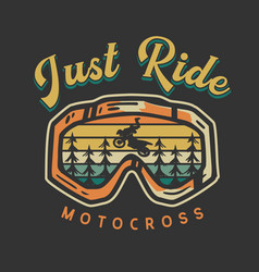 logo design just ride motocross with motocross vector image