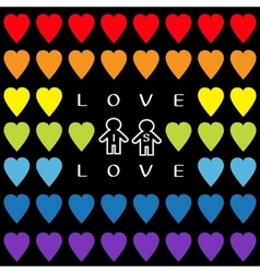 Love is love text Rainbow heart set Gay marriage vector