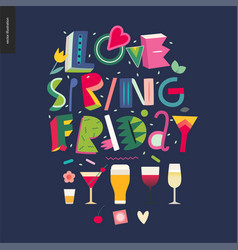 Love spring friday - lettering composition vector