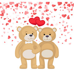 male female plush toys celebrating valentines day vector image