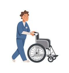 male social worker or nurse pushing empty vector image