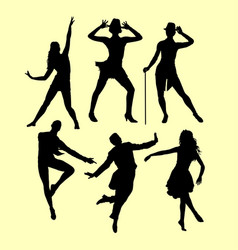 man and woman dancing silhouette vector image