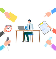 man doing tasks on laptop busy manager at office vector image