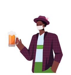 man in medical mask holding beer mug oktoberfest vector image