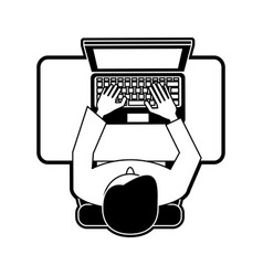 Man on desk with laptop topview vector