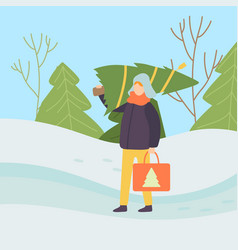 man wearing warm clothes carrying christmas tree vector image