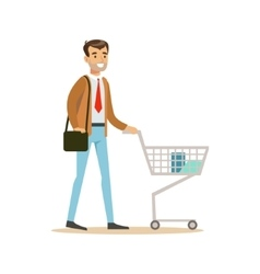 Man With Cart And Handbag In Department Store vector