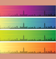 manchester multiple color gradient skyline banner vector image