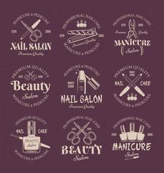 Manicure salon set of colored emblems vector